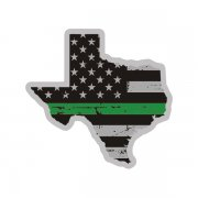 Texas State Thin Green Line Decal TX Tattered American Flag Sticker