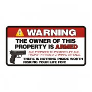 Warning Owner is Armed 2nd Amendment Home Security Sticker Decal
