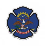 North Dakota State Flag Firefighter Decal ND Fire Maltese Cross Sticker