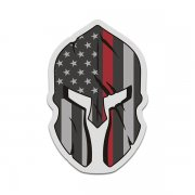 American Thin Red Line Flag Spartan Helmet Firefighter Sticker Decal V3