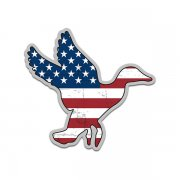 Duck Waterfowl American Flag USA Sticker Decal (RH)
