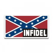 Confederate Rebel Flag Infidel Sticker Decal