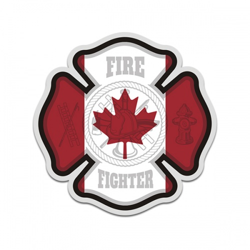 Canadian Firefighter Canada Maple Leaf Sticker Decal