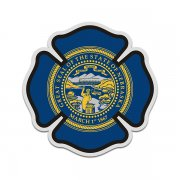 Nebraska State Flag Firefighter Decal NE Fire Rescue Maltese Cross Sticker
