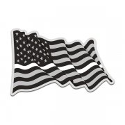 Thin White Line American Subdued Waving Flag USA Decal Sticker (RH) V4
