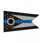 Ohio State Flag Thin Blue Line OH Police Officer Sheriff Sticker Decal