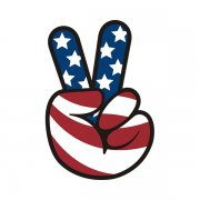 American Flag Peace Hand Sticker Decal