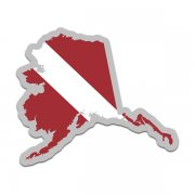 Alaska State Shaped Dive Flag Decal AK Map Vinyl Sticker