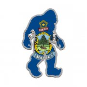 Maine State Flag Bigfoot Decal ME Sasquatch Big Foot Sticker V2