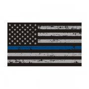 Tattered Thin Blue Line American Subdued Flag Sticker Decal (RH)