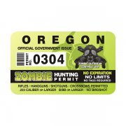 "Oregon Zombie Hunting Permit 4"" Sticker Decal"