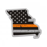 Missouri State Thin Orange Line Decal MO Tattered American Flag Sticker