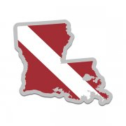 Louisiana State Shaped Dive Flag Decal LA Map Vinyl Sticker
