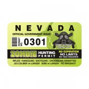 "Nevada Zombie Hunting Permit 4"" Sticker Decal"