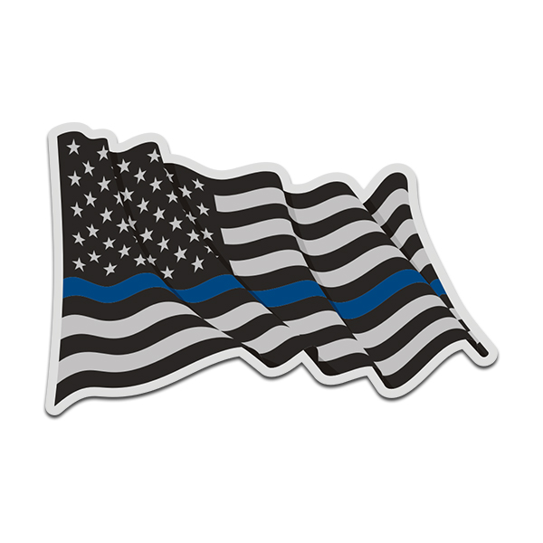 Thin Blue Line American Subdued Waving Flag USA Decal Sticker (RH) V4 - Click image to close
