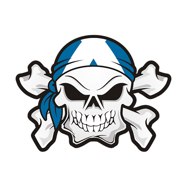 Scotland flag bandana scottish skull crossbones sticker decal