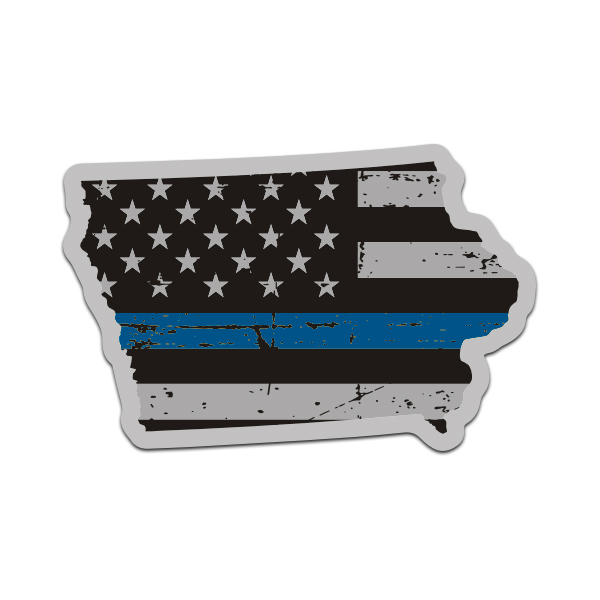 State of Iowa Tattered Flag Decal Various Sizes Thin Blue line decal