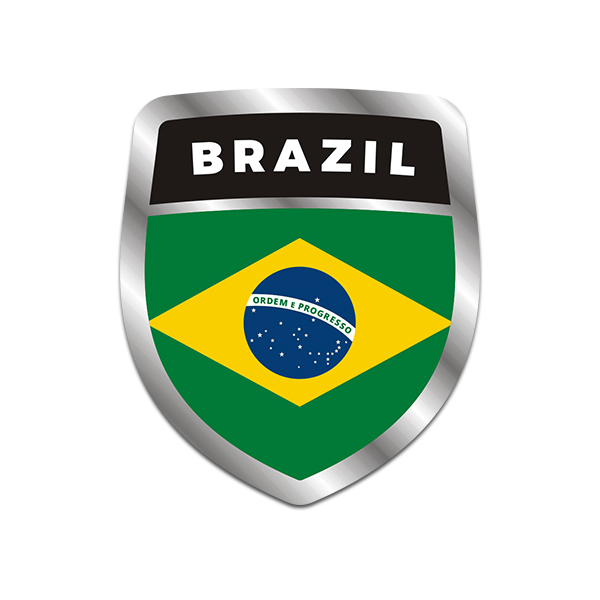 Brazil flag shield badge sticker decal click to zoom