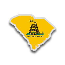 Map Shaped Gadsden Flag Stickers