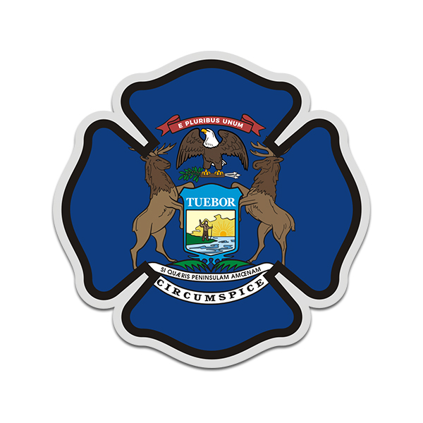Michigan State Flag Firefighter Decal MI Fire Rescue Maltese