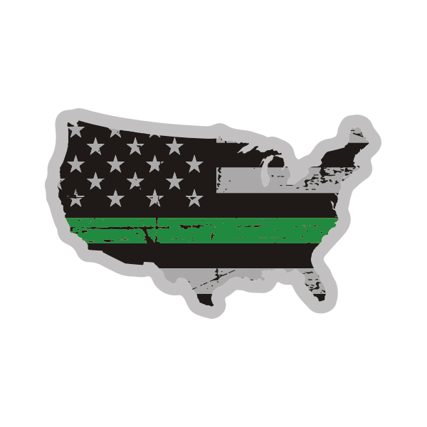 Usa Map Thin Green Line Decal Us Tattered American Flag Sticker