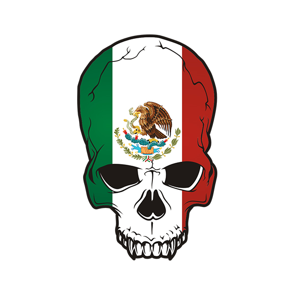 Mexican flag skull sticker decal