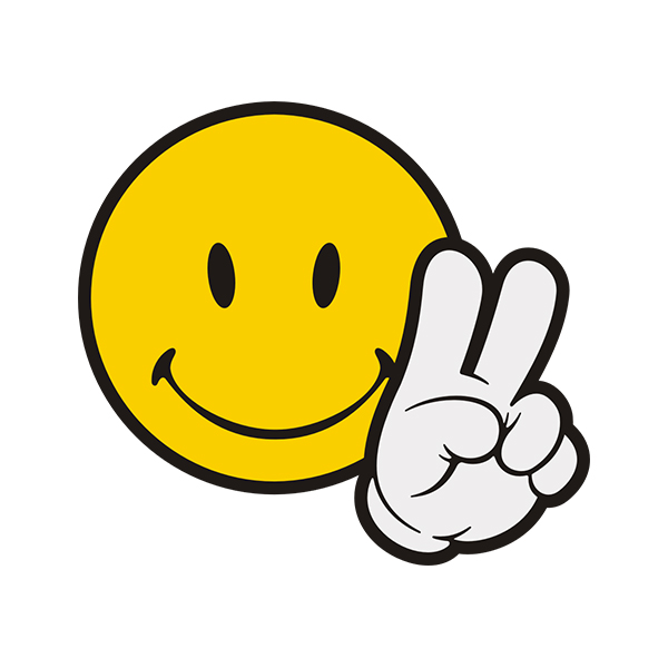 Smiley Peace Sign Emoticon Sticker Decal Rotten Remains