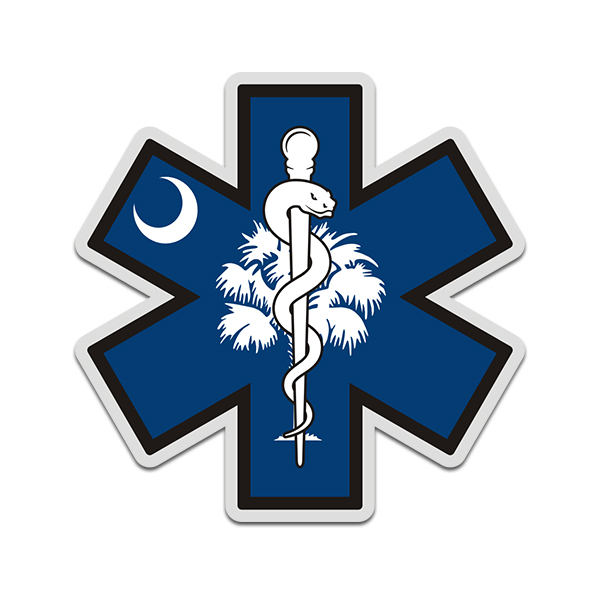 South Carolina State Flag Star of Life SC EMT Paramedic EMS Sticker Decal - Click image to close