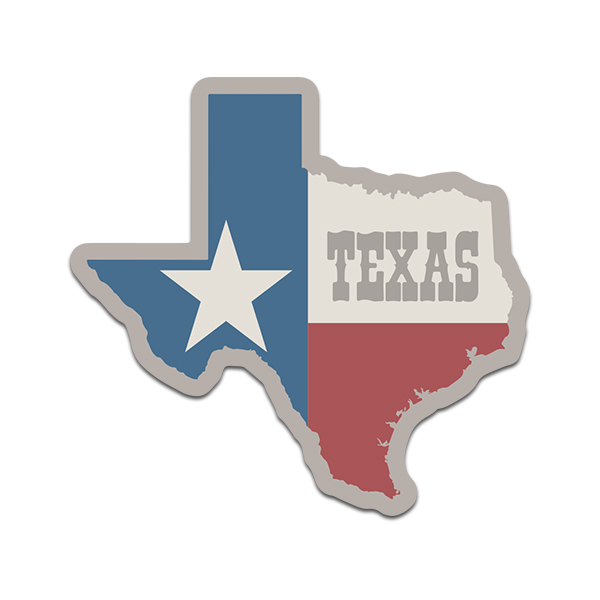 Texas State Flag Subdued Color Map TX Texan Sticker Decal V2 - Click image to close