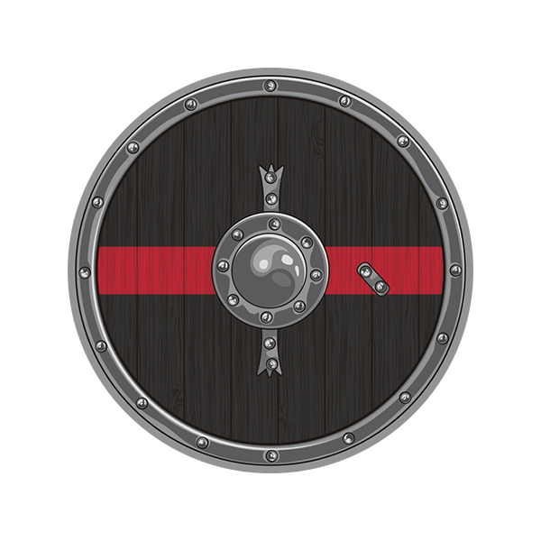 Thin Red Line Viking Warrior Shield Norse Firefighter Sticker Decal - Click image to close