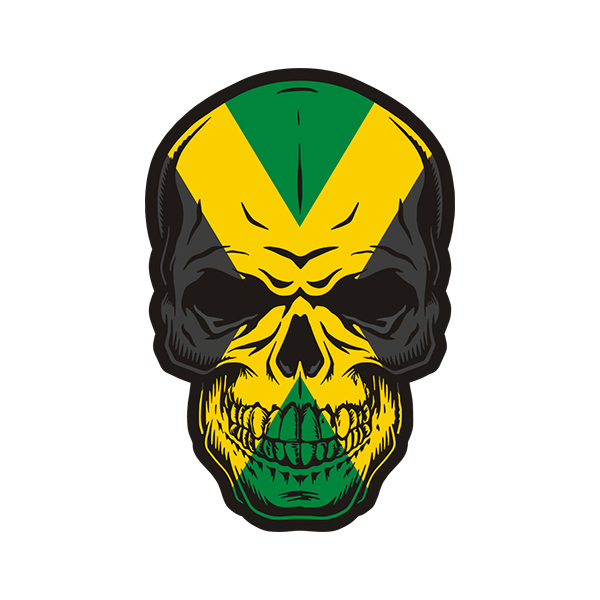 "Skull Flag Jamaica Car Bumper Sticker Decal /""SIZES/'/'"