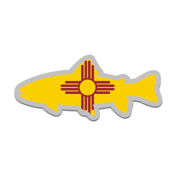 Two Pack New Mexico State Shaped Trout Sticker FA Graphix Vinyl Decal NM Fly Fishing Fish